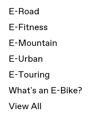 Cannondale Electric bike categories