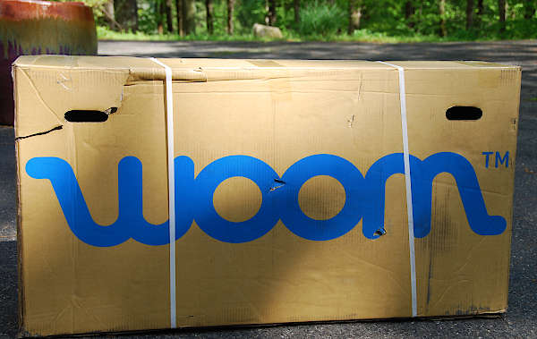 Shipping box containing new Woom bike