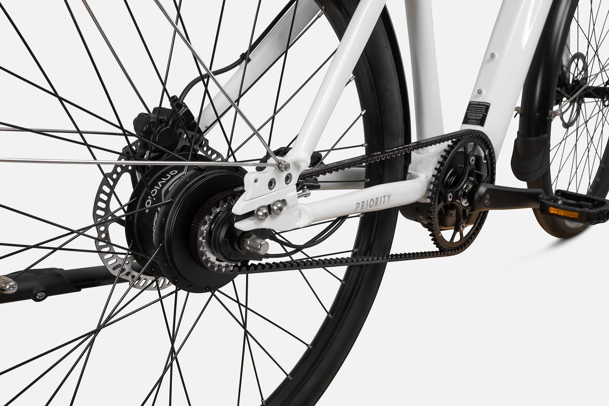 Priority current electric bike detail image showing rear hub and gates carbon belt drive