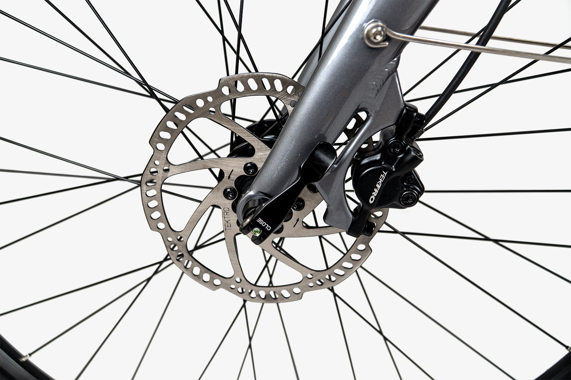Tektro Hydraulic disc brakes on the front of the Priority Embark electric bike