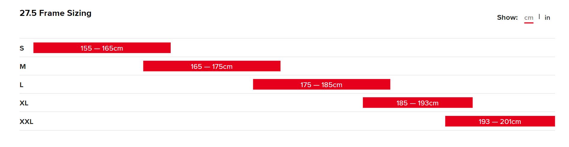 The Santa Cruz Heckler Bike Size Chart in Centimetres (CM)