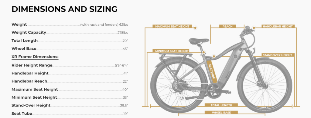 Ride1UP 700 Series Dimensions and Sizing